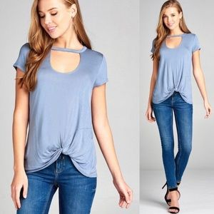 Tops - 🔴Ash Blue Knot Front Tee